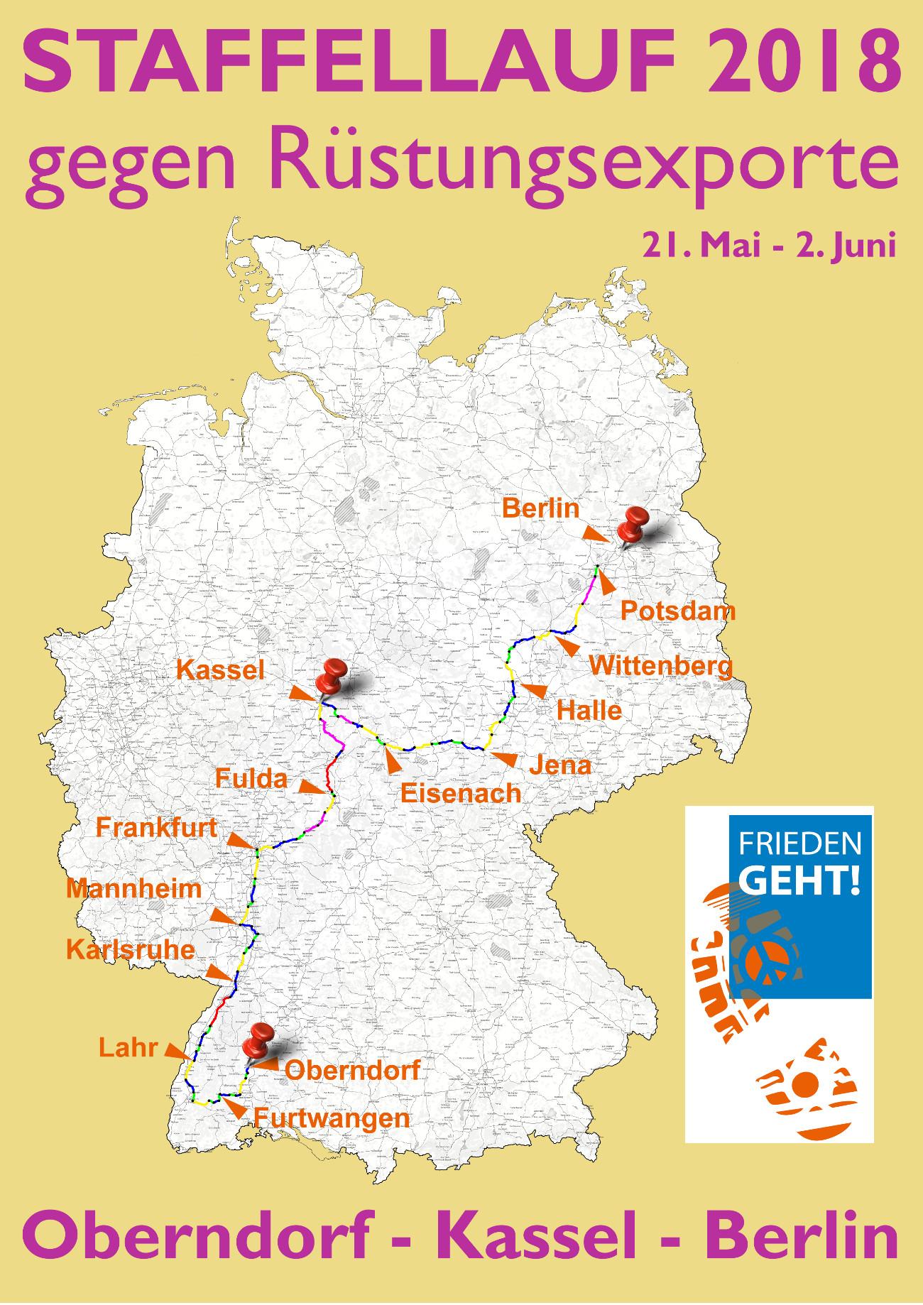 Gesamtstreckenverlauf von FRIEDEN GEHT!