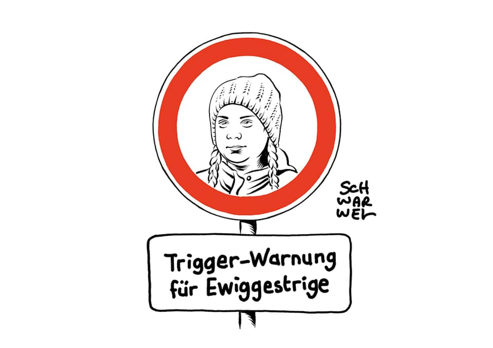 Klimastreik in Hamburg: Greta Thunberg ruft zu weiteren Protesten auf. © Schwarwel www.schwarwel.de