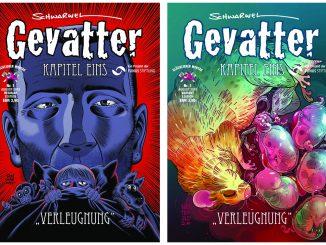 Schwarwel: Gevatter Tod. Cover Verleugnung (l.) und Varaintcover von Sascha Wüstenfeld (r.) 2019